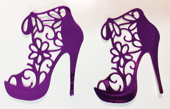 High Heel Shoe Foil Die Cut Flower Lace Royal Purple - Elegant Feminine Embellishment Scrapbook Greeting Card Art Craft Mixed Media Gift
