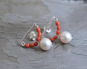 Sterling Silver Pearl Earrings -Red Coral Earrings - Japanese Akoya Pearl Earrings - Half Circle Post Earrings - Geometric Earrings
