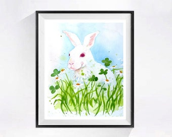 A Bunny Rabbit Painting Watercolor PRINT Pet rabbit painting Farm animal animal artwork Wild Life art woodlands painting Spring painting