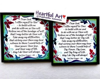 DEAR GOD 3rd Step Prayer Magnet AA Recovery Inspirational Motivation 12 step Sobriety Eating Disorder Heartful Art by Raphaella Vaisseau