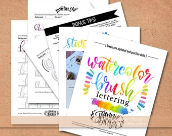 Watercolor Brush Lettering  worksheets Lower-case Alphabet + Practice Drills plus Tips - PDF File Only