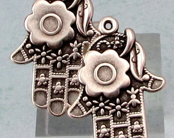 Hamsa Hand Drop, Boho Charm, Antique Silver, 2 Pieces, AS401