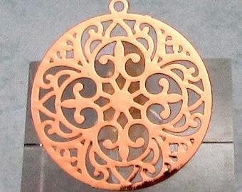Round Laser Filigree Charm, Rose Gold, 4 Pc. RG29