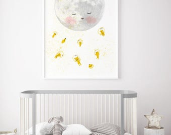Moon space astronaut - Boy Art - Holli - Nursery Wall Art - Nursery Decor - Childrens Art - Kids Wall Art - Nursery Art