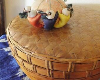 Vintage Basket with Lid Woven Bamboo Sewing Basket Gift Basket Vtg Storage Container Boho Decor Boho Basket Mid Century Basket