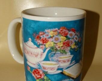 Grandmother Coffee Mug, Tea Cup Mug, Tea Pot, Tea Cup, Flower Vase, Dickinson Inc. Spring Time Tea Party Cup
