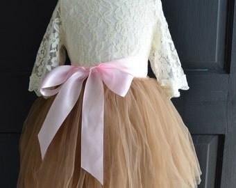 Girls Ivory lace blouse, ivory lace blouse, girls blouse, girls shirt, toddler blouse, Ivory  lace shirt