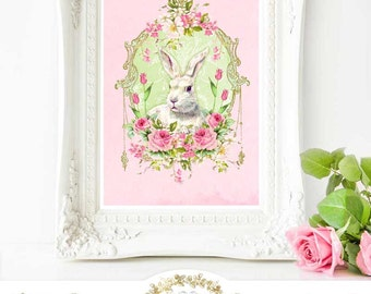 Rabbit printable, Easter bunny, spring, printable gift, Instant Download 8x10, Personal use only