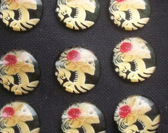 """6 Lolita Day of Dead Girl Glass Picture Cabochons 25mm/1"""""""