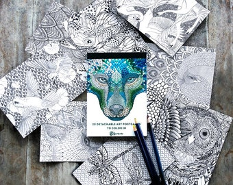 Adult Coloring Book, Adult Coloring Pages, Art Coloring Postcards, Coloring Cards, Hand Drawn Wolf Art, Raven Art Therapy, Art Lover Gift