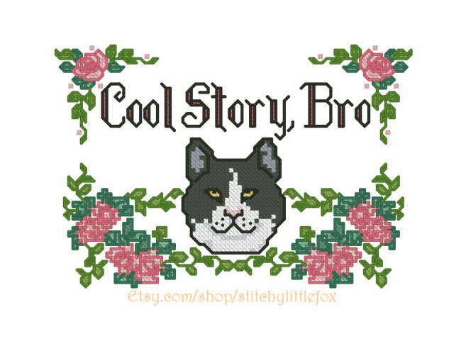 Cat Embroidery Pattern Funny Meme Design Cat By
