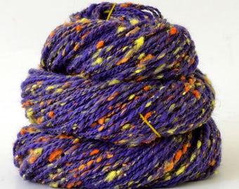 Handspun Yarn -  Hand Spun Tweed Silk / Merino Yarn - Sport Art Yarn- 1.5oz, 128yd, 16WPI