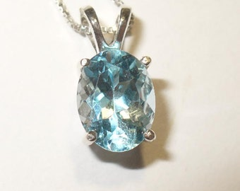 Blue Topaz Pendant Necklace in Sterling Silver - Genuine VVS Clarity Gemstone
