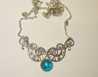 Neon Blue Apatite in Sterling Silver Centerpiece Style Necklace