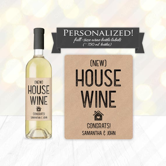 new house wine bottle label custom housewarming gift idea. Black Bedroom Furniture Sets. Home Design Ideas
