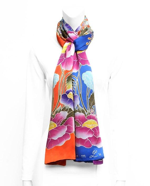 Silk Scarf Handpainted, Flower scarf, Red scarf, Skull Silk Scarf, Hand Painted, Blue scarf, Unique gift for girlfriend, floral silk scarf
