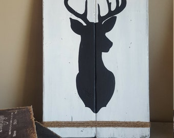 Deer Silhouette Sign with Twine - Rustic Country Cottage Home Decor