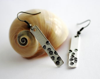 Dangle Earrings Lightweight Aluminum Silver Hand Stamped Spirals by Hendywood