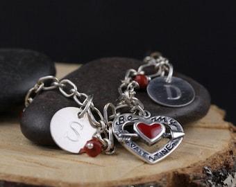 Be My Valentine Charm Bracelet Sterling Silver