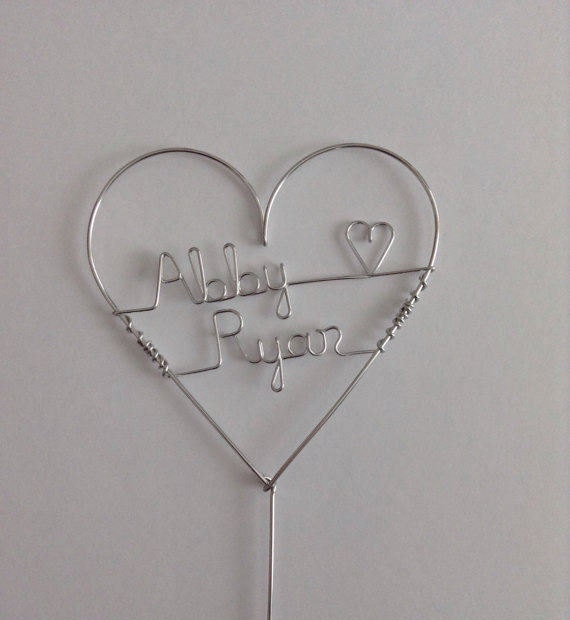 Heart Wedding Cake Topper. Large Size, Personalized