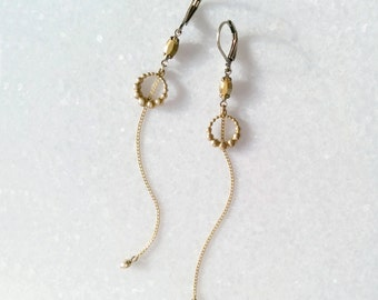 Golden Earrings - Long Earrings with Chains - Gold Brass Earrings - Comet Or Swarovski - Nova (SD1213)