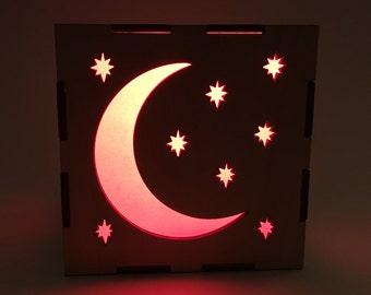 Moon and Stars Light Box, Wood Lantern, Moon Lantern, Candle Box, Moon Lamp, LED Lantern, Home Decor, Light Box, Stars Nightlight, Gift