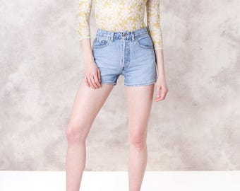 SILVER tab HIGH waist LEVI jean denim Shorts 90s button fly vintage faded distressed Summer / size 5 / 26 waist / better Stay together