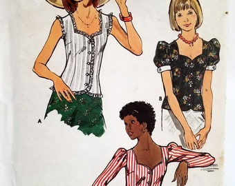 Vintage Boho Blouse Pattern Butterick 3501 Bust 38 Sweetheart Neckline Puffed Sleeves Front Button Blouse Factory Folded
