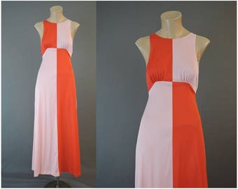 Vintage 1970s Nightgown, small 32 bust,  Pink and Orange Nylon Nightgown, by Juniper, Color Block