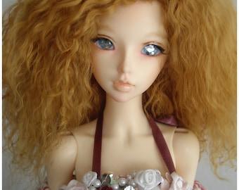 """Honey color tibetan mohair wig for bjd 8/9"""" sd size"""