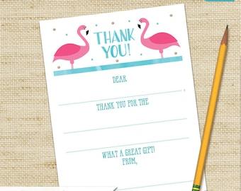 Flamingo Thank You Cards, Flamingo Party, Fill In Cards, Girls Birthday Card, Kids Thank You Cards, DIY PRINTABLE, Children's Thank You Card