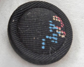 VINTAGE Needlepoint Embroidered Fabric Pad Back BUTTON