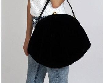 Vintage 1950s Oversized Black Velvet Purse
