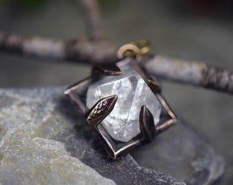Apophyllite Pyramid - Raw Crystal in Bronze