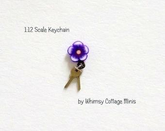 Dollhouse Miniature Keys Keychain, Purple Flower - 1/12th Scale