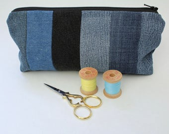 Striped Zipper Pouch, Upcycled Denim, Bluebird Lining