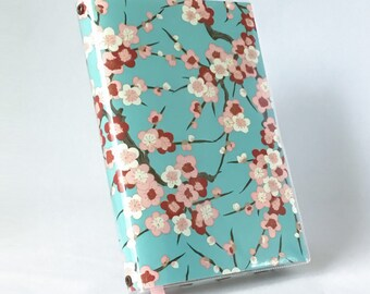 Paperback Book Cover - Reusable, Protective and Adjustable - Large Trade Size- Stylish Book Cover with Cherry Blossoms on Light Blue