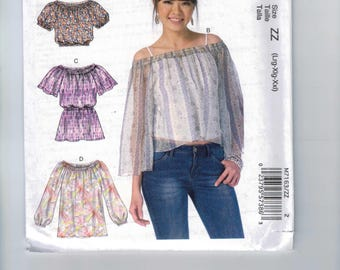 Misses Sewing Pattern McCalls M7163 7163 Misses Easy Peasant Style Top Cropped Chiffon Size 16 18 20 22 24 26 Bust 38 40 42 44 46 48 UNCUT