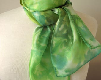 """Hand Dyed Silk Neck Scarf, 8x54"""" -  Leafy Greens, Various Shades of Green with Pale Aqua"""