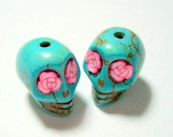 Pink Rose Eyes in Small Turquoise Day of The Dead Skull Beads-12mm