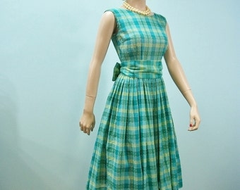 1950s 1960s Dress . Vintage Green Blue & Yellow Wide Sash Sun Dress . Eyelash Fabric Full Skirt Dress  XS S