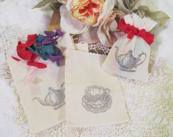 Tea Party Favor Bags Ready to Ship - Set of 10 - Muslin Fabric Alice Favor Bag Teacup Teapot - Choose Ribbons - Bridal Tea Shower Mad Tea