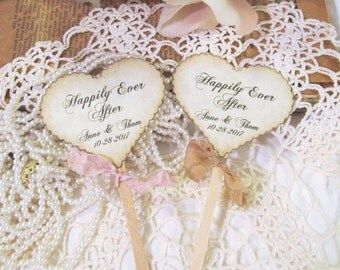 Wedding Hearts Cupcake Toppers w/ribbons -  Happily Ever After - Customized Party Picks - Set of 12 - Choose Ribbons - Rustic Vintage
