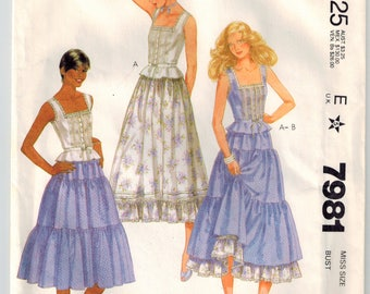 Vintage 80s Misses Top Skirt Sewing Pattern Sz 6 Bust 30.5 Fitted Sleeveless Button Top Flared Peplum Ribbon Drawstring Tiered RuffledSkirt