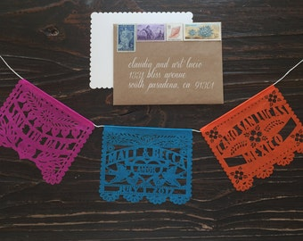 Mini Save the Date Wedding Invitations (22 pieces) Tissue papel picado garland personalized custom fiesta mexico mexican