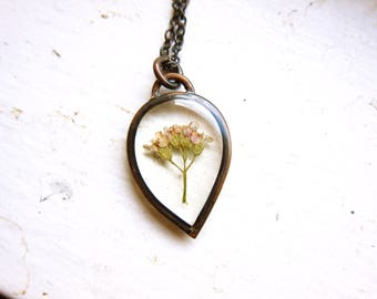 Petite Pressed Yarrow Necklace ||| In the Looking Glass / Pressed Flower Pendant