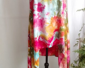 Pink Gold Green Ice Dyed Tunic Dress with Asymmetrical Hemline - Lagenlook Layer Sleeveless Sundress - Hand Dyed in Monet Colorway size XL