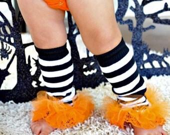 "Halloween ruffle leggings Girls Ruffle lace Tutus Leg Warmers - Perfect for Halooween Costume, Photos Approx 6"" Long"