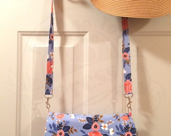Blue and Pink Floral Crossbody Purse // Convertible Clutch Handbag // Glenda // Vegan