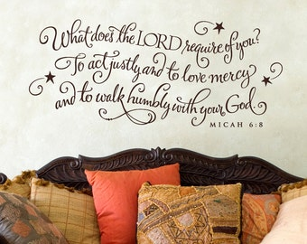 What does the Lord require of you...scripture quote wall graphic lettering calligraphy vinyl decal sticker old barn rescue